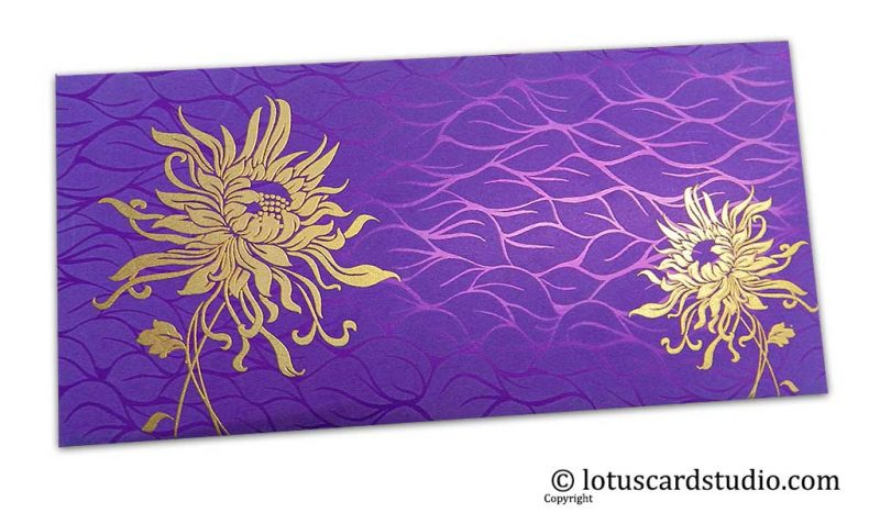 Vibrant Foil Metallic Purple Shagun Envelope with Golden Spider Flower