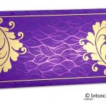 Wedding Money Envelopes in Vibrant Foil Metallic Purple with Golden Curly Vine