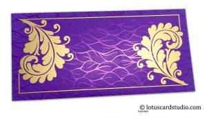 Wedding Money Envelopes in Vibrant Foil Metallic Purple with Golden Curly Vine