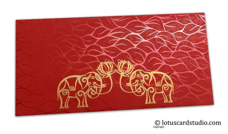 Vibrant Foil Metallic Red Money Envelope with Golden Elephants