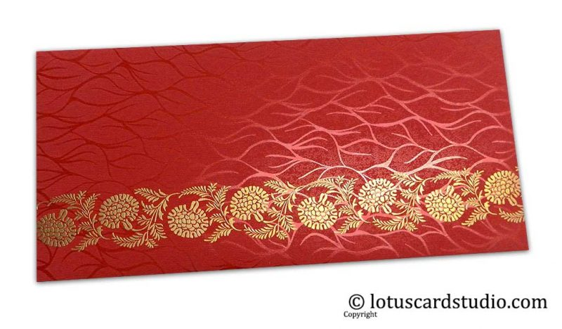 Vibrant Foil Metallic Red Shagun Envelope with Golden Floral Vine