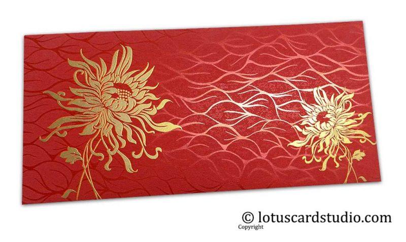 Vibrant Foil Metallic Red Shagun Envelope with Golden Spider Flower