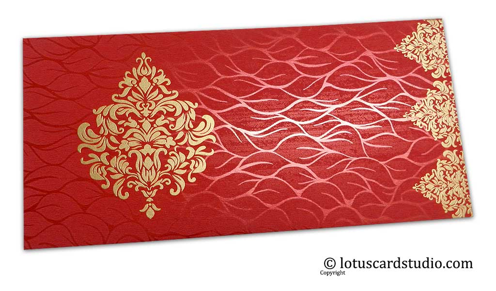 Vibrant Foil Metallic Red Shagun Envelope with Golden Victorian Floral