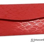 Back view of vibrant foil metallic red shagun envelopes