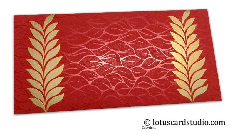 Vibrant Foil Metallic Red Gift Envelope with Golden Ferns