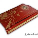 Wedding Invitation Card in Royal Red and Golden with Sweet Box