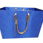 Front view of Blue Satin Gift Bag with Golden Silk Rope