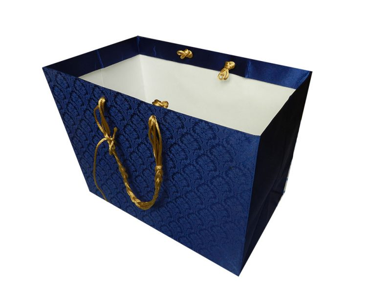 Blue Satin Gift Bag with Golden Silk Rope