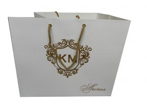 Front view of Ivory Metallic Paper Gift Bag