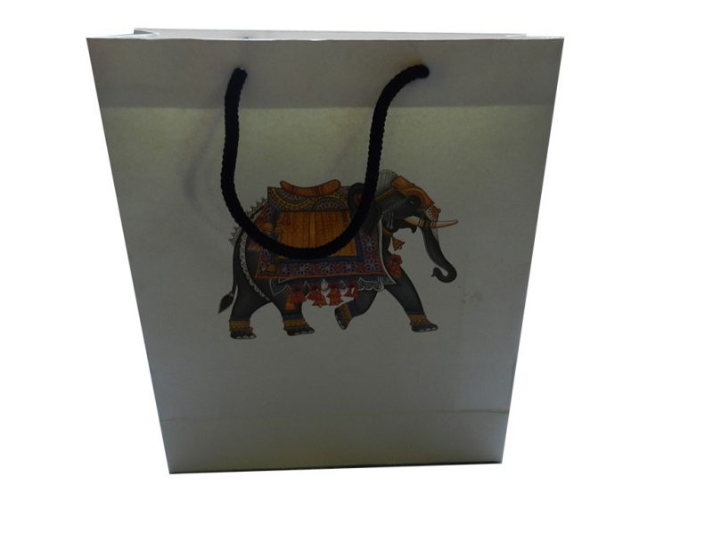 Front view of Elephant Theme Ivory Gift Bag