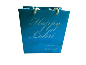 Front view of Cyan Gift Bag Shimmer Finish