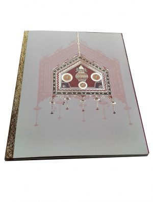 Card front of Indian Invitation Card in white with Palanquin - WC_57