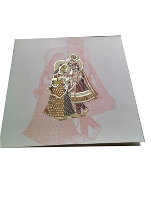 Indian Invitation Card in white with Radha Krishna - WC_58