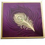 Card of Wedding Card in Purple with Mor Pankh Beads - WC_60