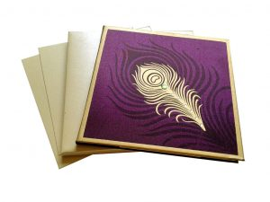 Wedding Card in Purple with Mor Pankh Beads - WC_60