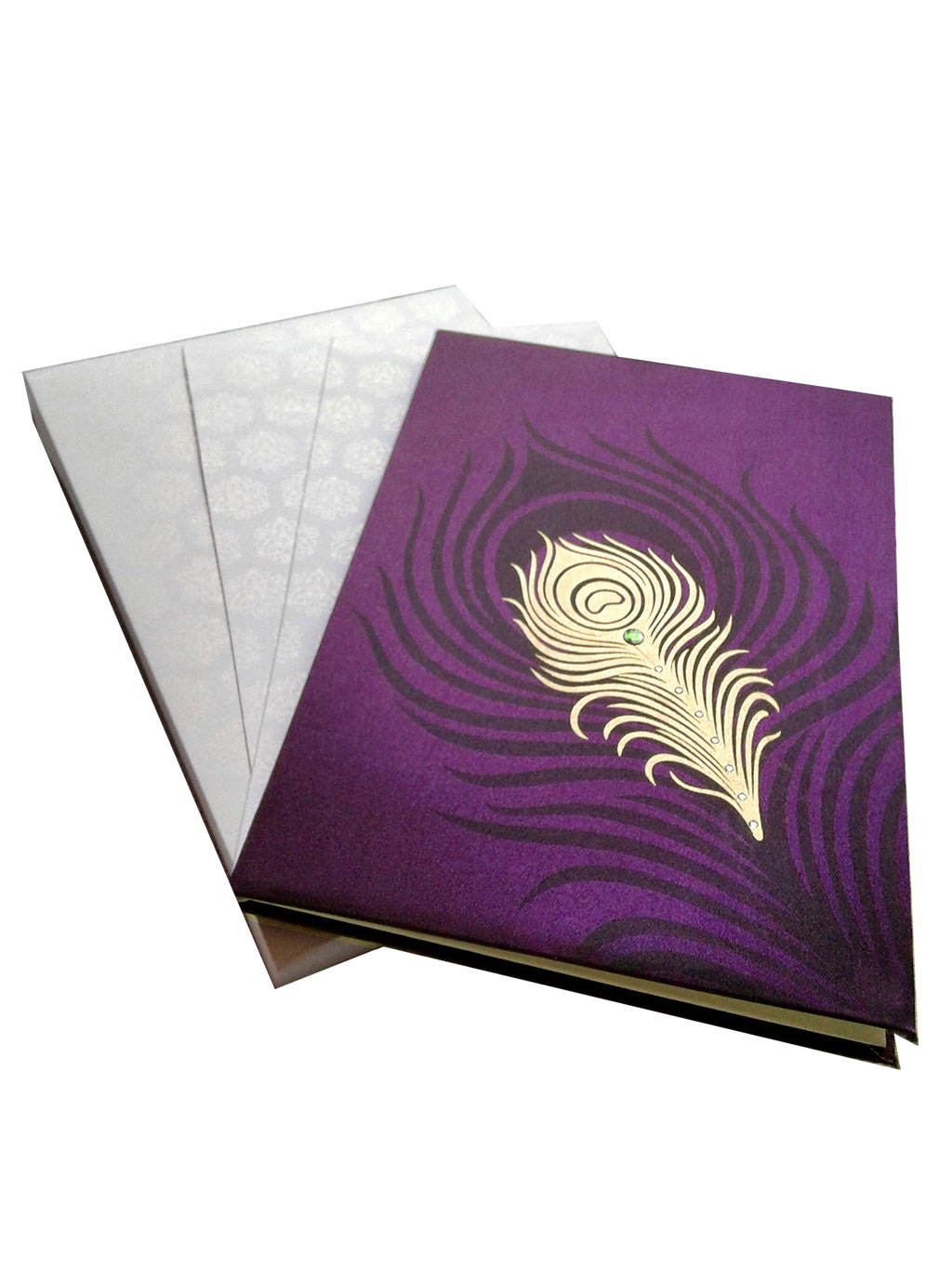 Wedding Card in Purple with Mor Pankh Beads - WC_61