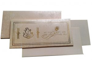 Wedding Invitation Card in Peach Yellow with White Flower Design - WC_62