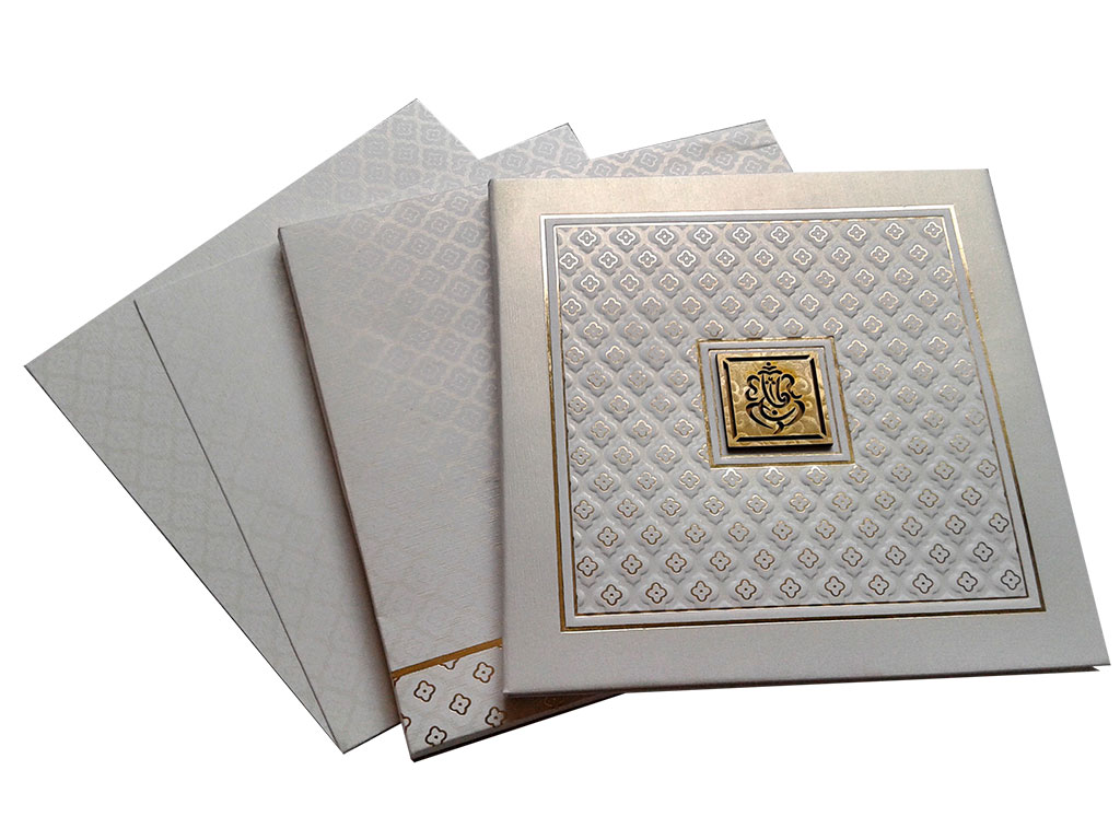 White Invitation Card with Raised Texture - WC_64