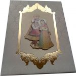 Card of Wedding Invite in White with Radha Krishna - WC_45