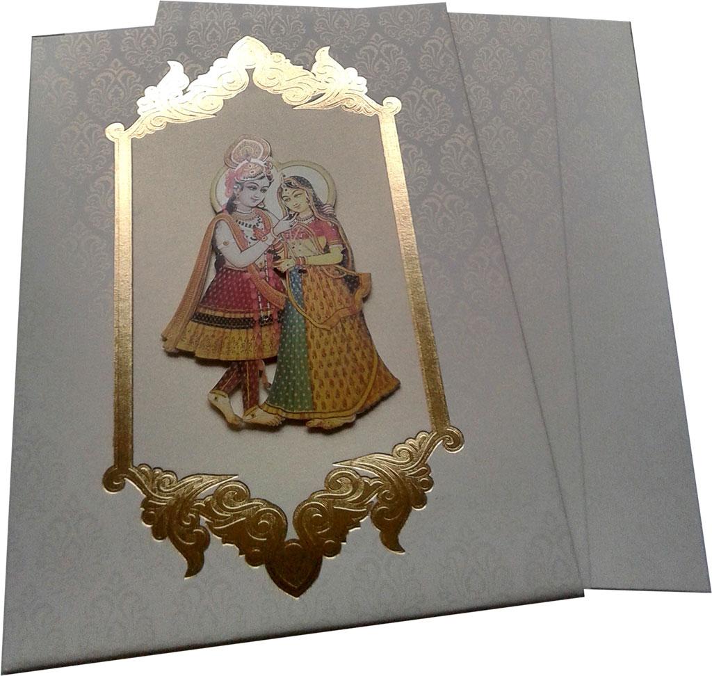 Wedding Invite in White with Radha Krishna - WC_45