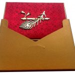 Envelope back of Indian Wedding Card in Red Color with Mor Pank - WC_47