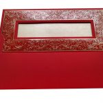 Envelope back of Marriage Inviation Card in Bright Red with Golden Frame - WC_51