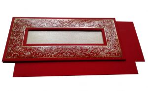 Marriage Inviation Card in Bright Red with Golden Frame - WC_51