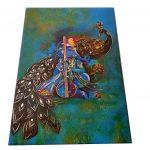 Card of Sacred Indian Wedding Invitation Card in Greenish Blue - WC_52