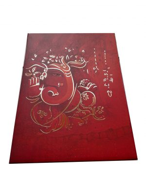 Card of Card in Shaded Red with Ganesh Ji - WC_55