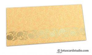 Beige Flower Flocked Money Envelope with Golden Floral Vine