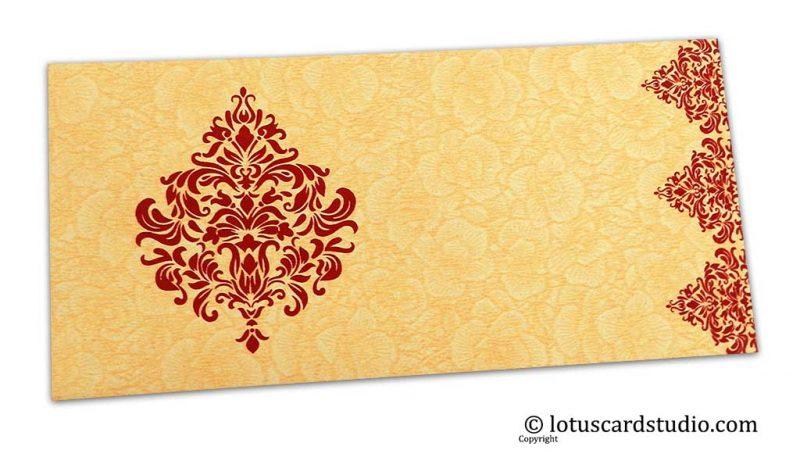 Beige Flower Flocked Shagun Envelope with Golden Victorian Floral