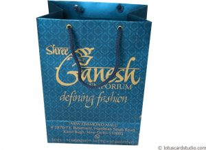 Blue Gift Bag with Damask Floral Design