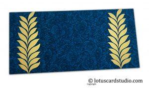 Blue Flower Flocked Gift Envelope with Golden Ferns