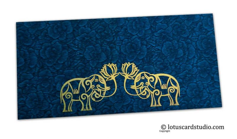 Blue Flower Flocked Money Envelope with Golden Elephants