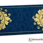 Blue Flower Flocked Money Envelope with Golden Curly Vine