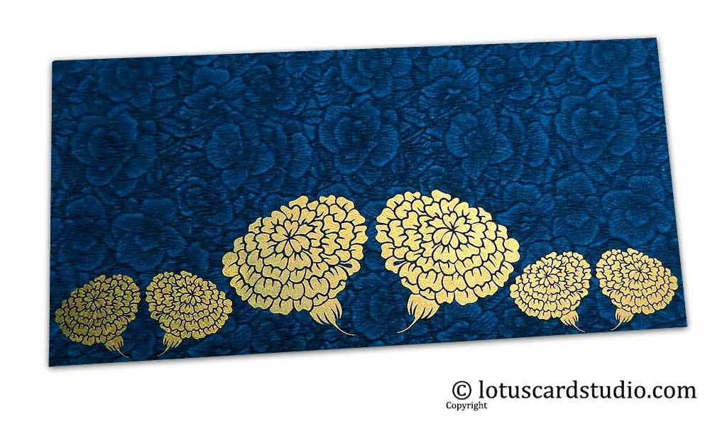 Blue Flower Flocked Money Envelope with Golden Dahlia Flowers