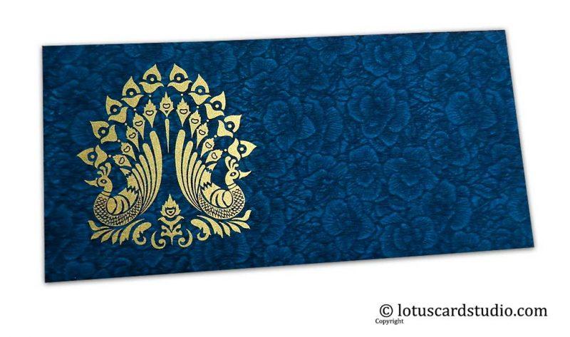 Blue Flower Flocked Shagun Envelope with Golden Peacocks
