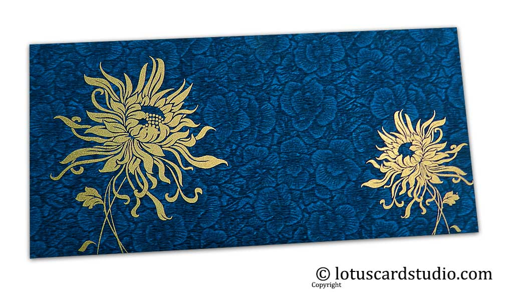 Blue Flower Flocked Shagun Envelope with Golden Spider Flower