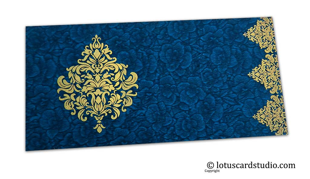 Blue Flower Flocked Shagun Envelope with Golden Victorian Floral