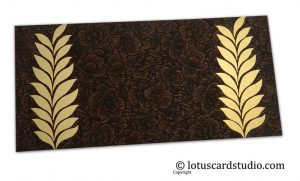 Brown Flower Flocked Gift Envelope with Golden Ferns