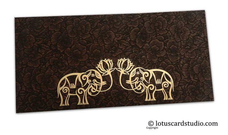 Brown Flower Flocked Money Envelope with Golden Elephants