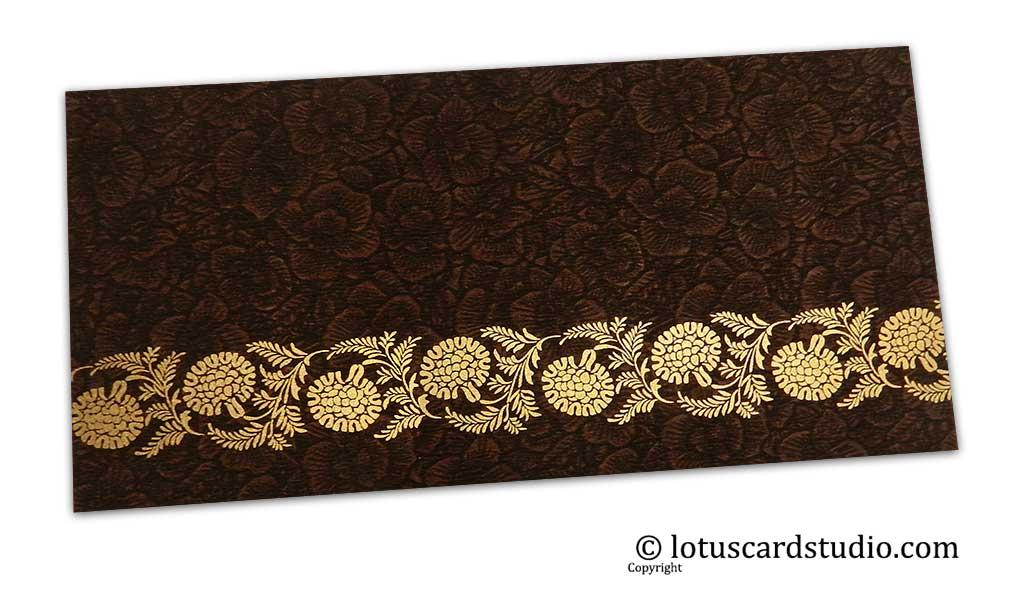 Brown Flower Flocked Money Envelope with Golden Floral Vine