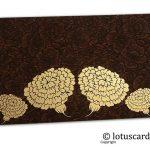 Brown Flower Flocked Money Envelope with Golden Dahlia Flowers