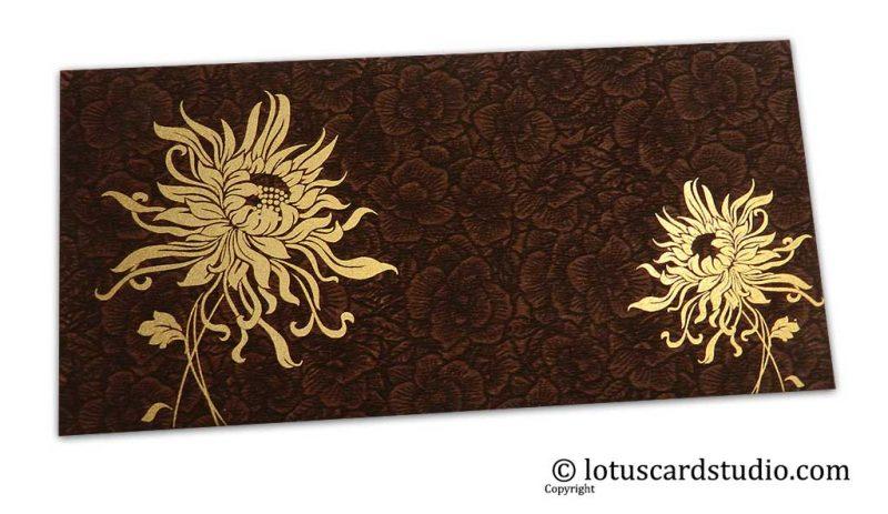 Brown Flower Flocked Indian Money Envelope with Golden Spider Flower