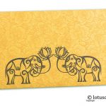 Golden Beige Flower Flocked Money Envelope with Grey Elephants