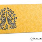 Golden Beige Flower Flocked Shagun Envelope with Blue Peacocks