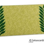 Green Flower Flocked Gift Envelope with Green Ferns