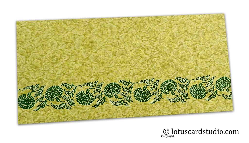 Green Flower Flocked Money Envelope with Golden Floral Vine