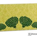 Green Flower Flocked Money Envelope with Dark Green Dahlia Flowers