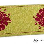 Green Flower Flocked Money Envelope with Reddish Pink Curly Vine
